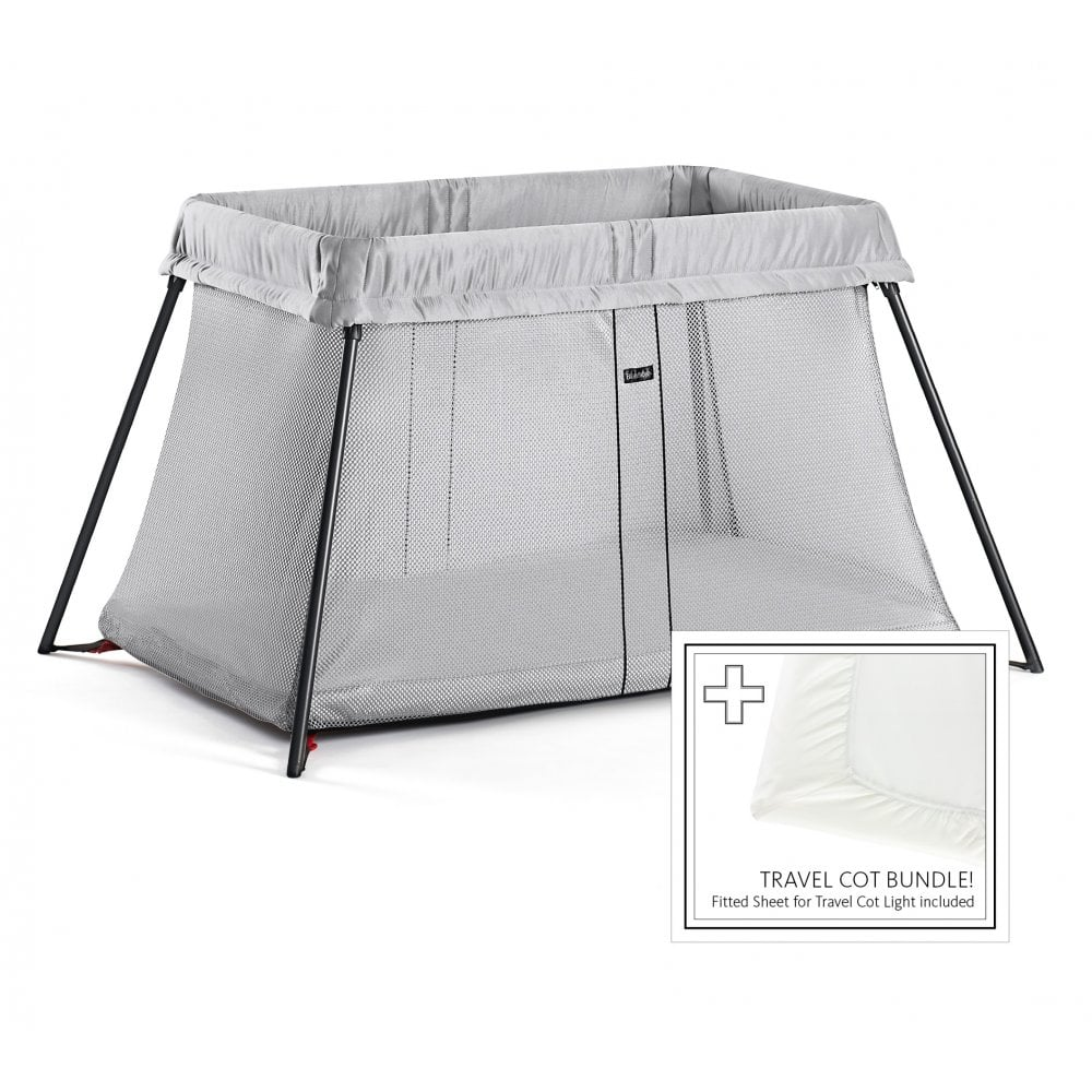 e678462d48b BabyBjorn Travel Cot Light with Fitted Sheet (Silver) - Nursery ...