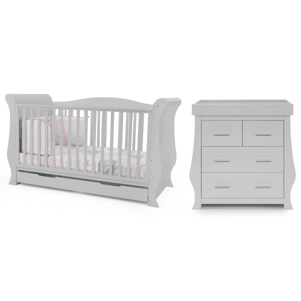 BabyStyle Hollie 2 Piece Furniture Bundle with Free Sprung Mattress (Grey)