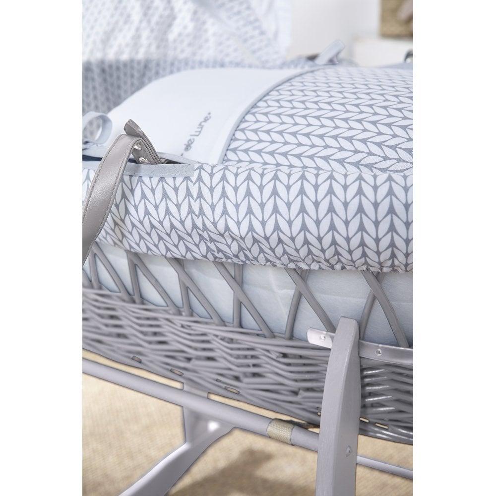 Neutral Clair de Lune ABC Dark Wicker Moses Basket inc mattress /& adjustable hood bedding
