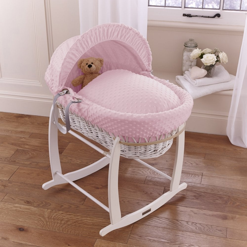 CLAIR DE LUNE WHITE WAFFLE PADDED WHITE WICKER BABY MOSES BASKET /& ROCKING STAND