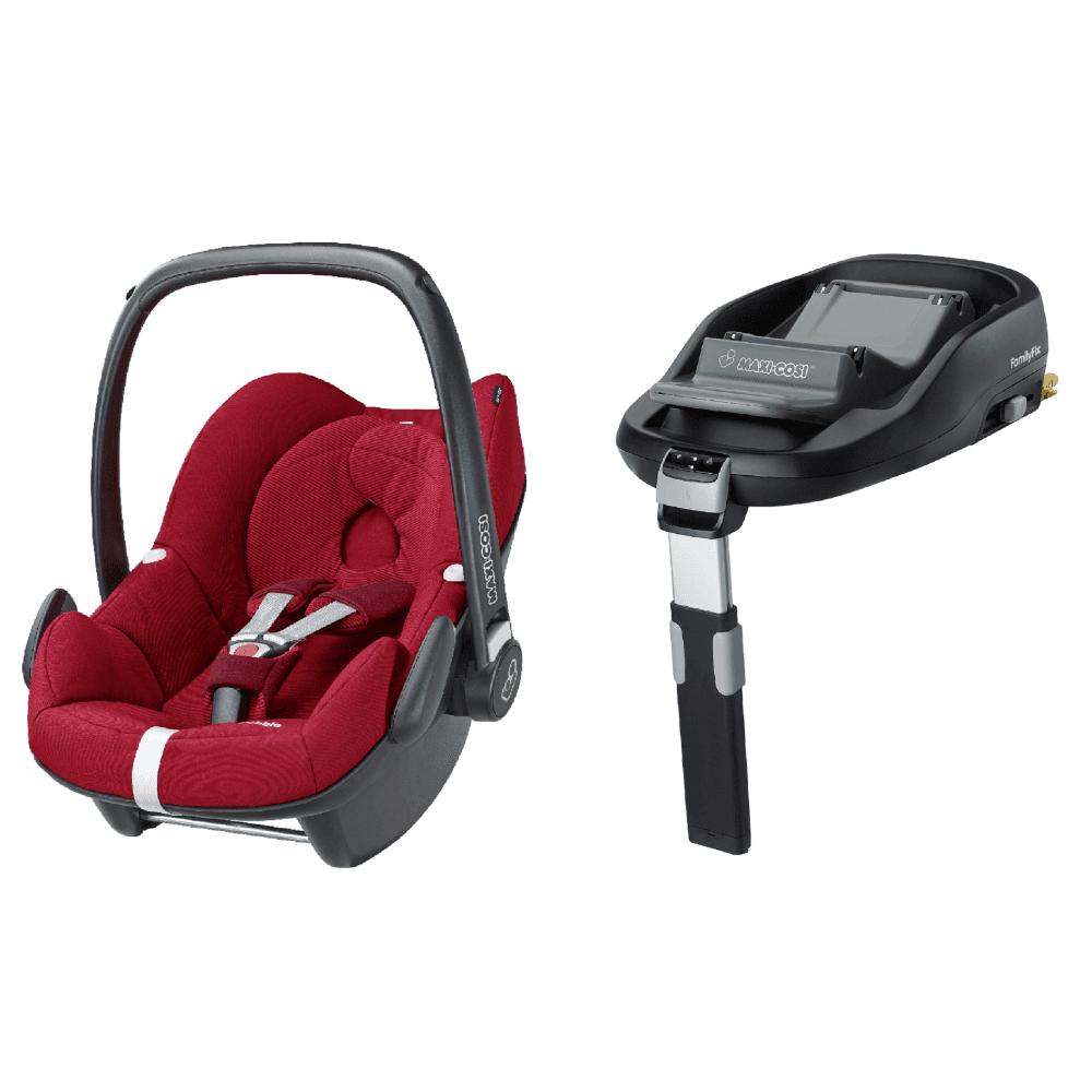 Pebble Baby Car Seat And Familyfix Base Bundle Robin Red